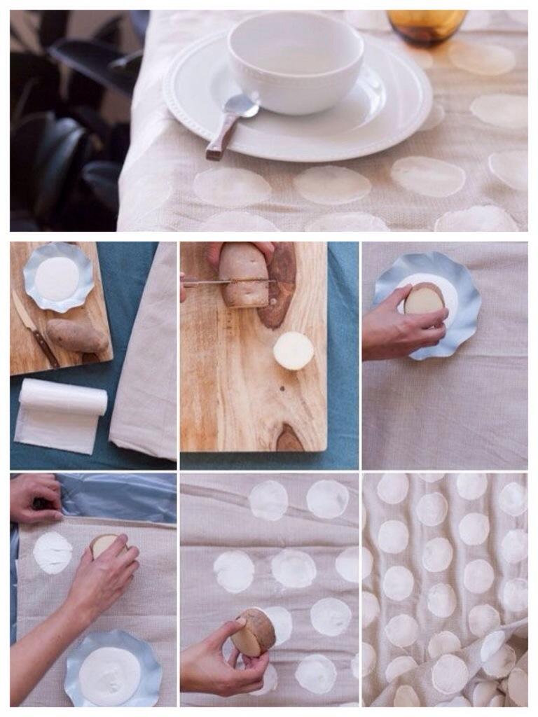 DIY Aardappelstempels tafelkleed